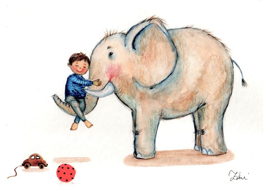 A boy with an elephant