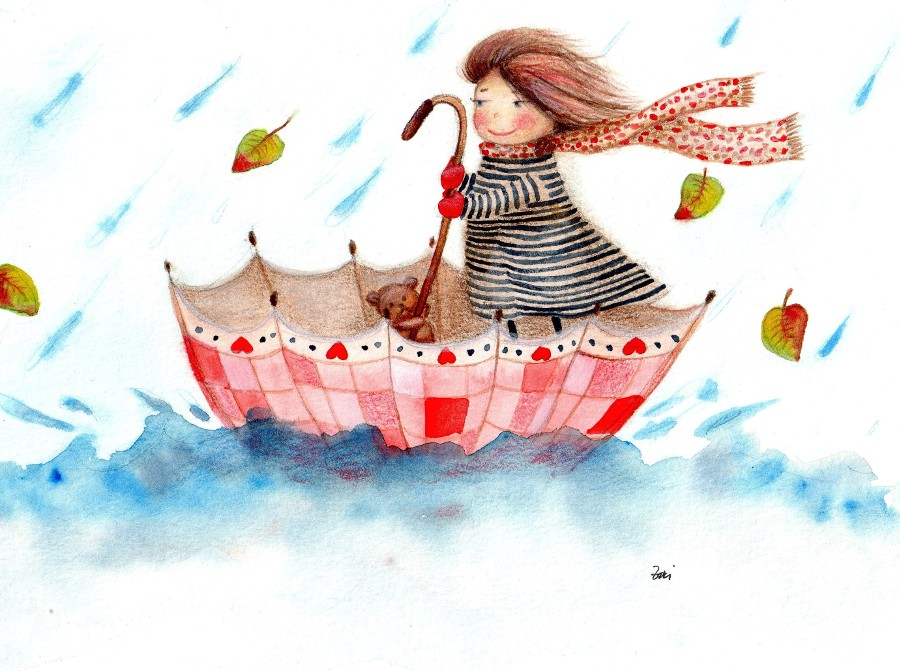 An illustration of a toddler sailing in an upside down umbrella.