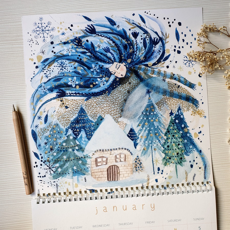January calendar page depicting Winter