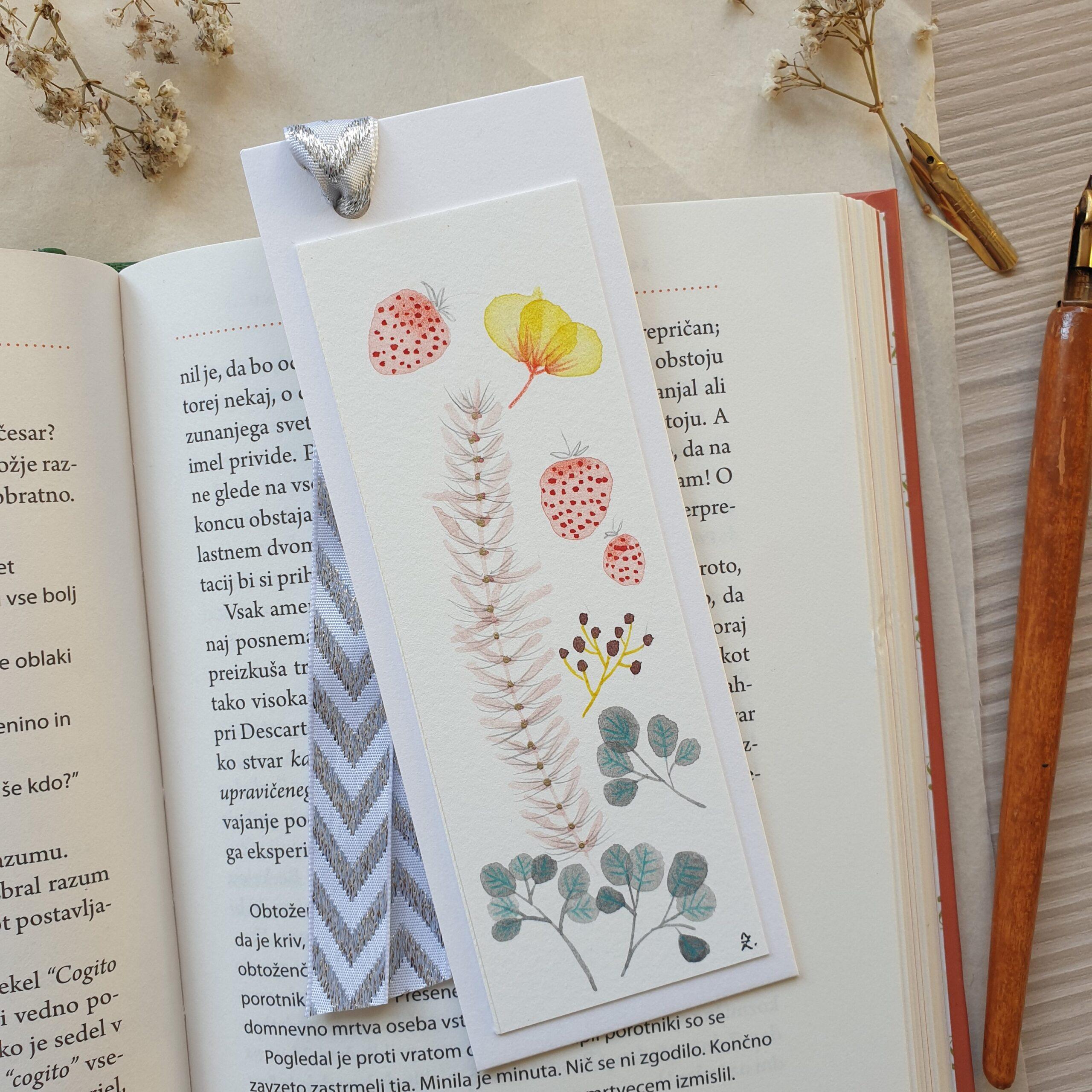 Floral bookmark, pink