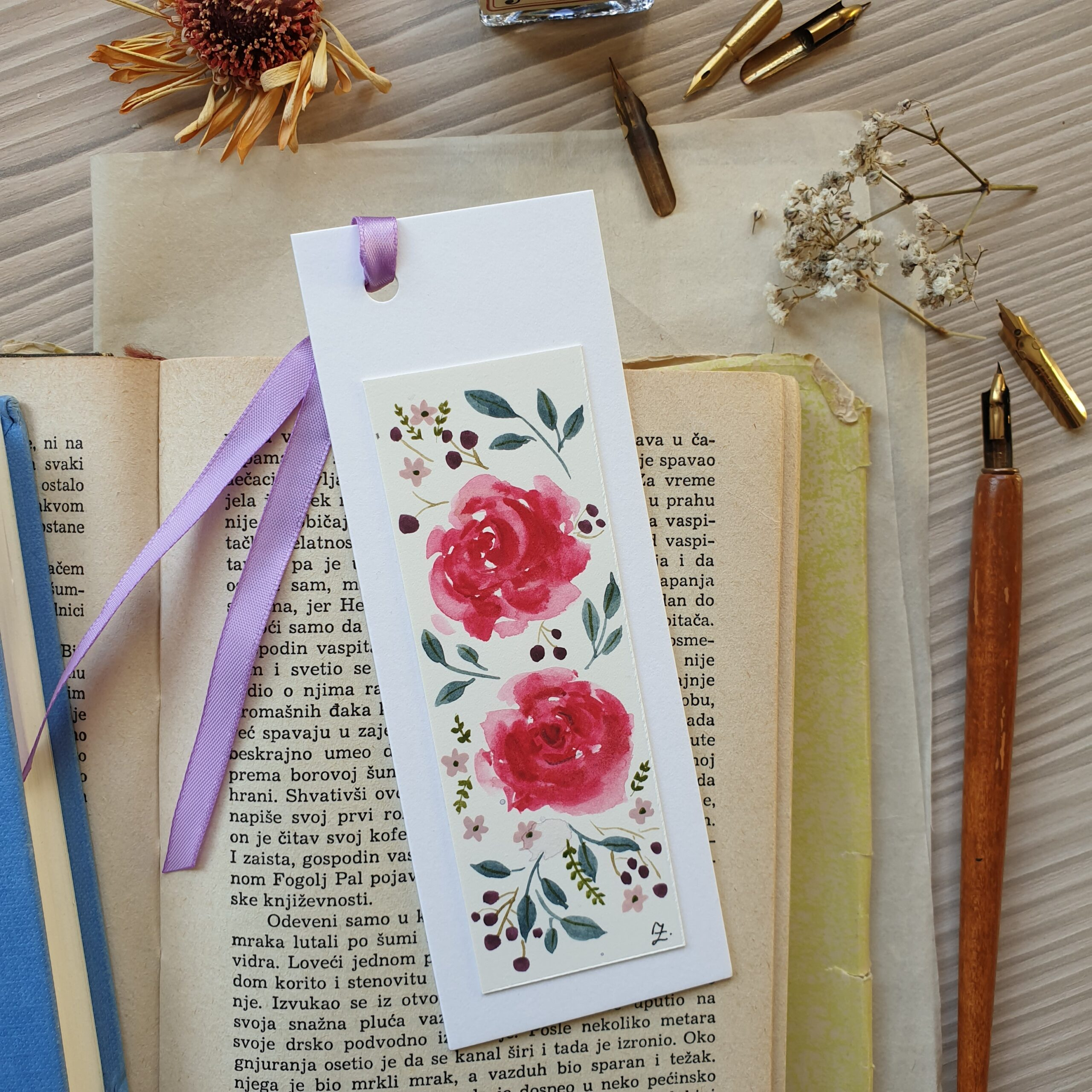 Floral bookmark, rose