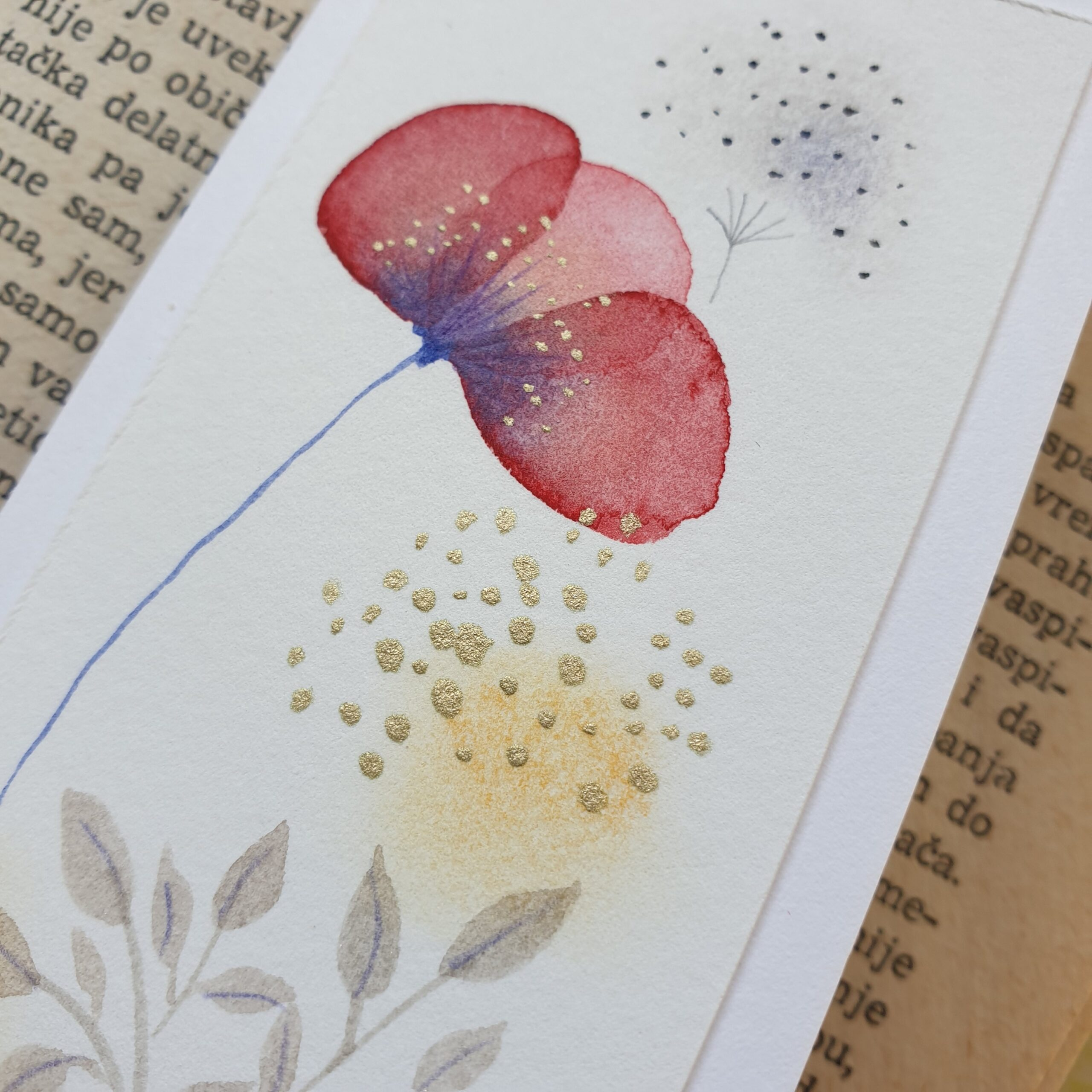 Floral bookmark, close up
