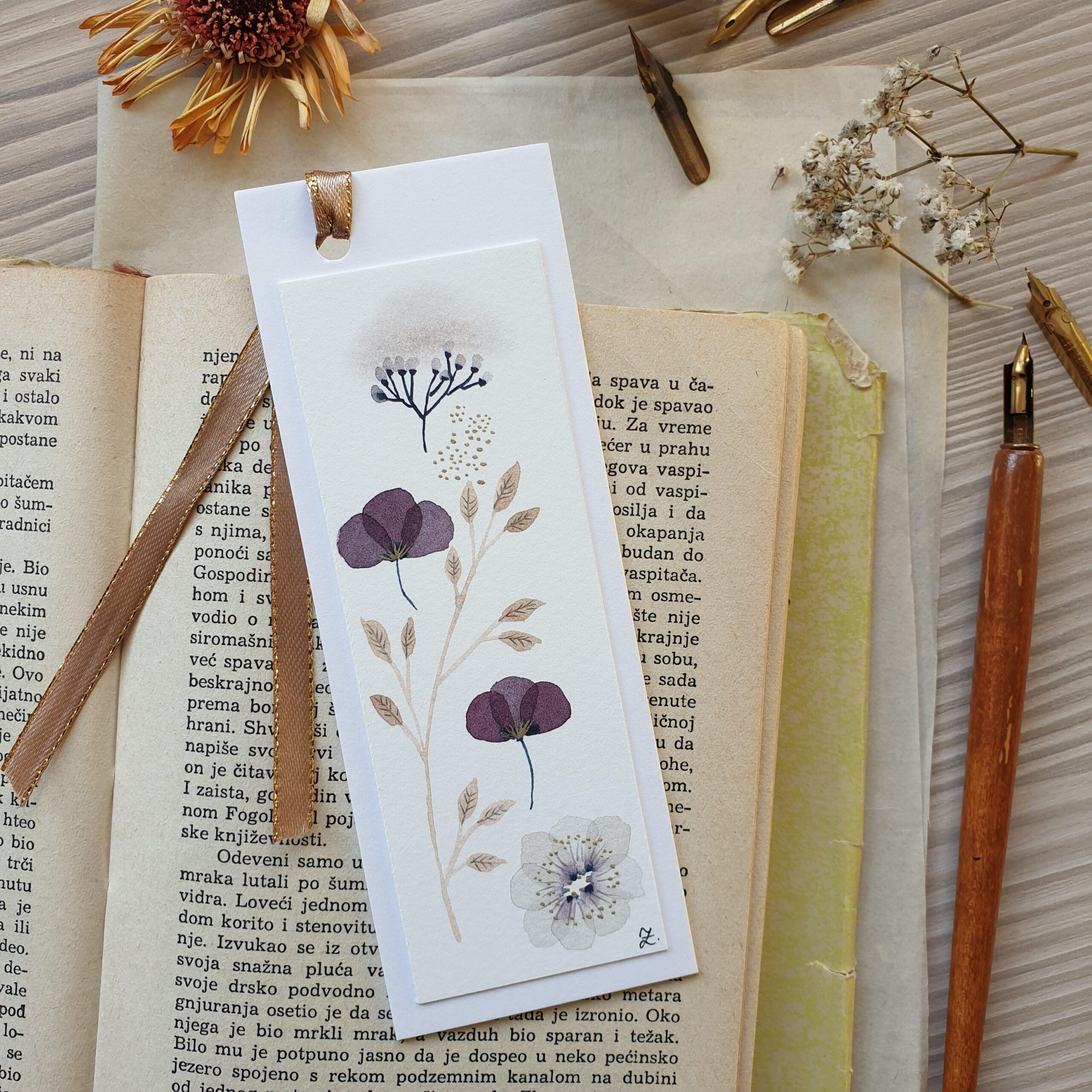 Floral bookmark, violet